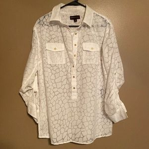 Dana Buchman White + Sheer Animal Print Top Sz M